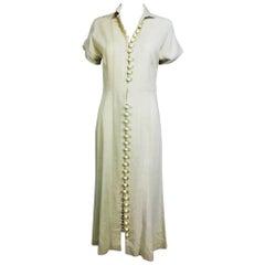 1930s California King Made Sportswear cream button front linen dress