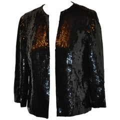 The Den (Beverly Hills) Black Silk Lined Hand-Sequined 'Open' Evening Jacket
