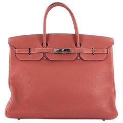Hermes Birkin Handbag Sanguine Clemence with Palladium Hardware 40