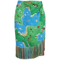 1992 S/S Perry Ellis by Marc Jacobs Novelty Print Silk Wrap Skirt w/Fringe
