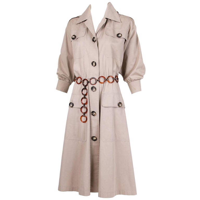 Iconic 1970's Yves Saint Laurent YSL Tan Safari Coat Dress w/Circle Belt