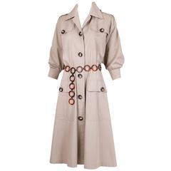 Iconic 1970's Yves Saint Laurent YSL Tan Safari Coat Dress w/Circle Belt