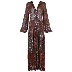 Rare 1970's Yves Saint Laurent Floral Printed Crocheted Maxi Dress