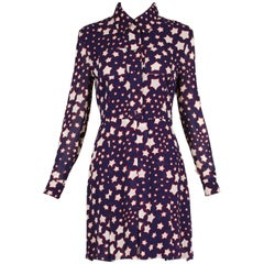 2015 Saint Laurent by Hedi Slimane Long Sleeved Star Print Day Dress