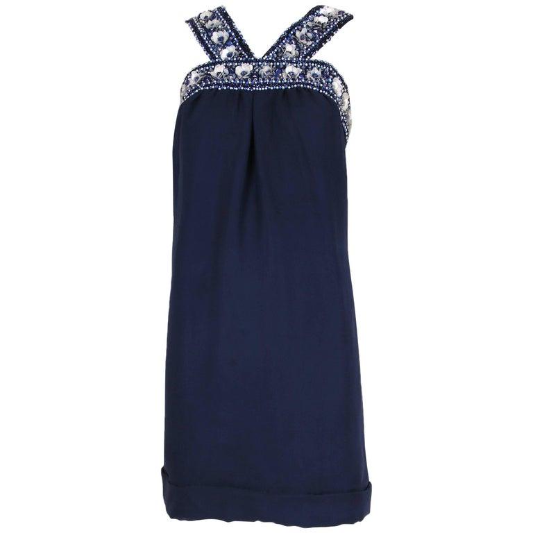 Pierre Cardin Haute Couture Blue Silk Cocktail Dress w/Beaded Trim Ca.1966 1