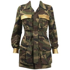 2015 Saint Laurent by Hedi Slimane Military Style Camouflage Jacket w/Gold Trim