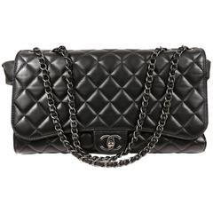 Chanel Classic Supermarket Drawstring Shopping Bag- Black Lambskin