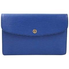 Vintage Louis Vuitton Borneo Montaigne MM Blue Epi Leather Clutch Bag