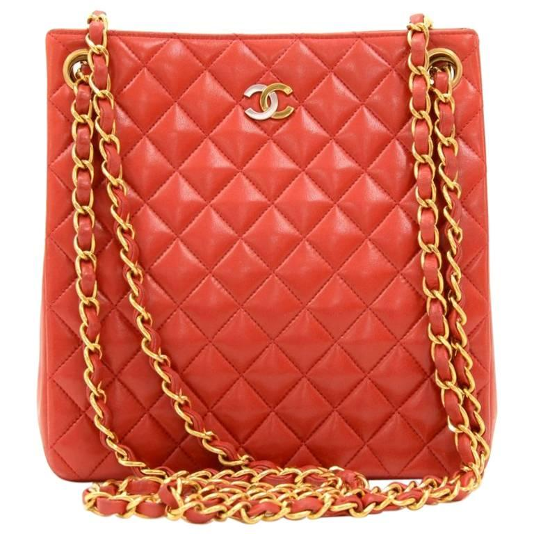 Chanel Paris Limited Red Quilted Leather Small Shoulder Tote Bag ... : red quilted chanel bag - Adamdwight.com