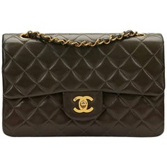 1990s Chanel Khaki Quilted Lambskin Vintage Small Classic Double Flap Bag