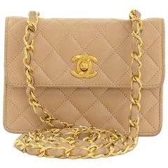 Vintage Chanel Beige Quilted Leather Shoulder Mini Flap Bag