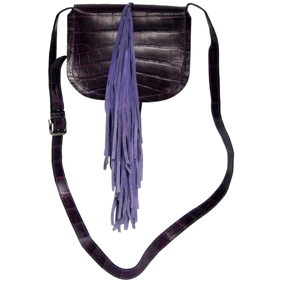 Balmain Bag In Purple Crocodile Leather And Lilac Suede Fringes WaZQOSo