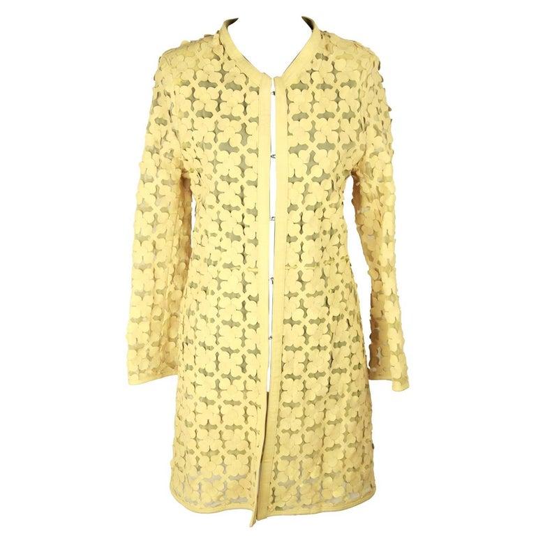 ITALIAN Yellow Leather FLOWER CARDI COAT Overcoat SIZE 44