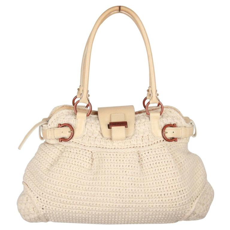 SALVATORE FERRAGAMO Ivory Wool Knit MARISA Shoulder Bag For Sale at ... 1740fba887
