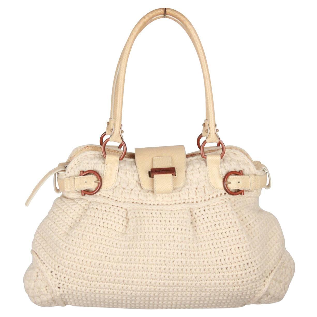 6ff97a04cc SALVATORE FERRAGAMO Ivory Wool Knit MARISA Shoulder Bag For Sale at 1stdibs