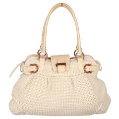 SALVATORE FERRAGAMO Ivory Wool Knit MARISA Shoulder Bag
