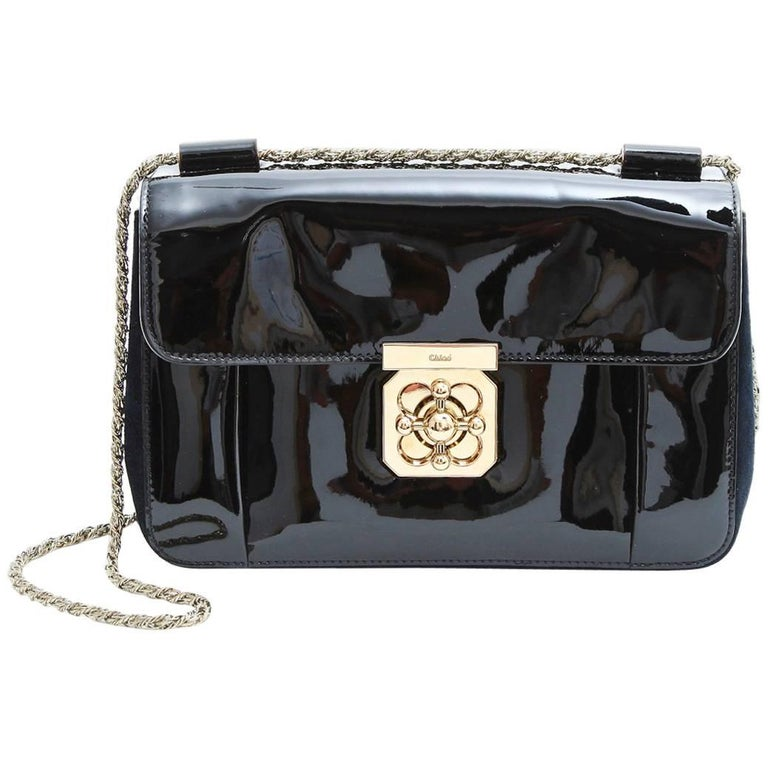 CHLOE Flap Bag in Navy Suede and Black Patent Leather