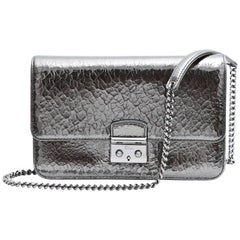 DIOR 'Miss Dior' Cracked Leather in Gun Barrel Color Flap Bag
