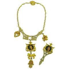 Christian Lacroix Vintage Rare Mozart Chinoiserie Pagoda Necklace and Brooch Set