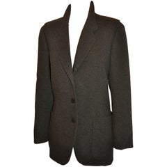Hermes Charcoal Brown Cashmere Three-Button Patch Pocket Jacket