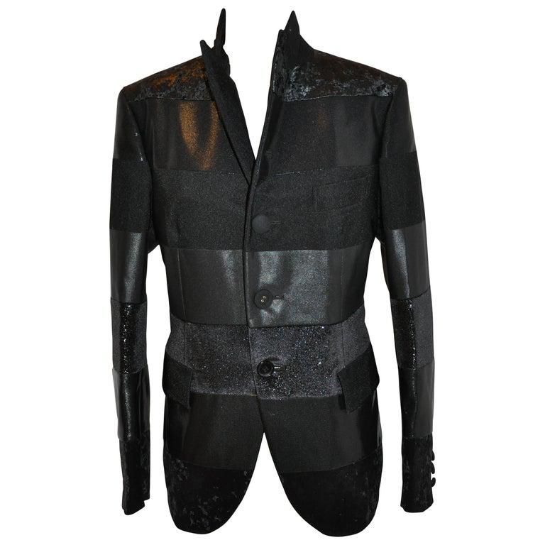 Junya Watanabe 'Comme des Garcons' Black Multi-Textured Evening Jacket For Sale