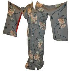 """Japanese Turquoise-Green Embroidered """"Lanterns"""" Silk Kimono"""