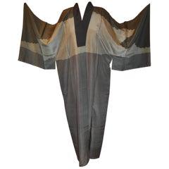 "Japanese Shades of Grays & Black ""Portrait"" Backside Silk Kimono"