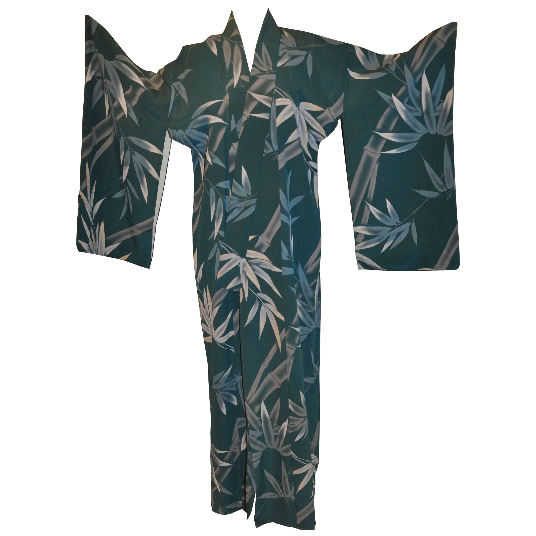"Japanese ""Shades of Greens Bamboo"" Silk Kimono"