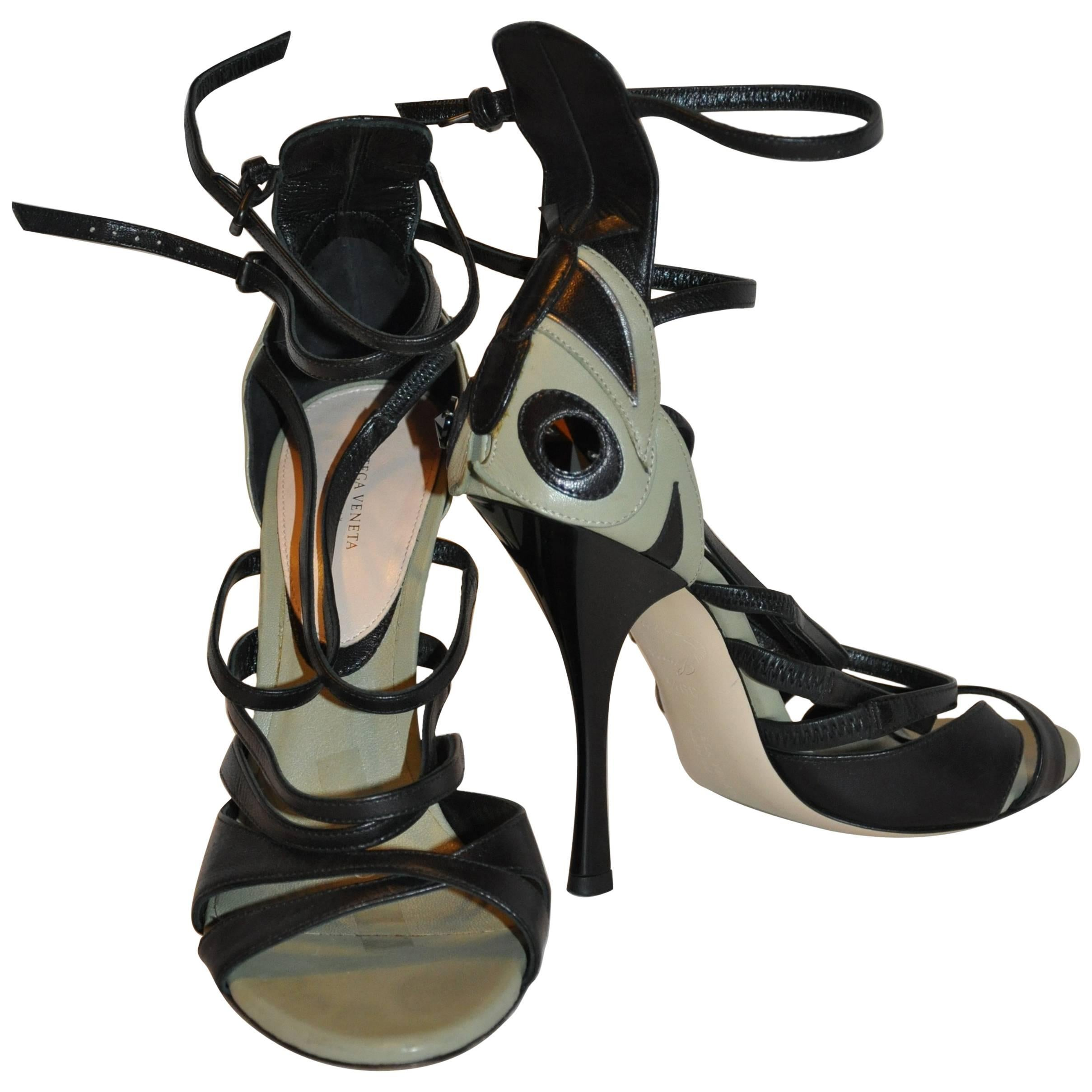"Bottega Veneta ""Limited Edition"" Olive & Black Strappy Ankle Strap Heels"