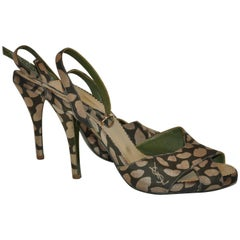 "Yves Saint Laurent Olive ""Lips"" Ankle-Strap Sandal"