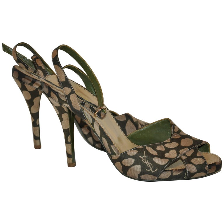 "Yves Saint Laurent Olive ""Lips"" Ankle-Strap Sandal For Sale"