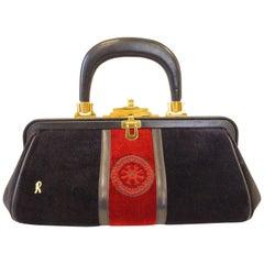 1970s Roberta di Camerino Velvet Black Red Gold Top Handle Purse