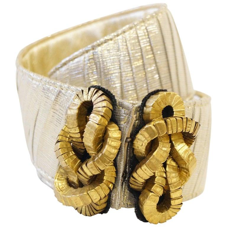 1980's Oscar de La Renta Gold Lamé Square Knot Belt