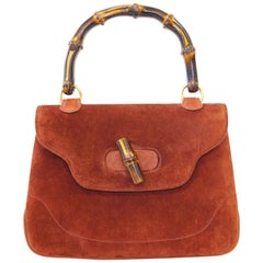 Gucci Rust Colored Suede and Bamboo Purse, 1960s
