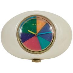 1970's Peam Oval Watch w/Multi-Colored Psychedelic Face, Dial & Leather Band