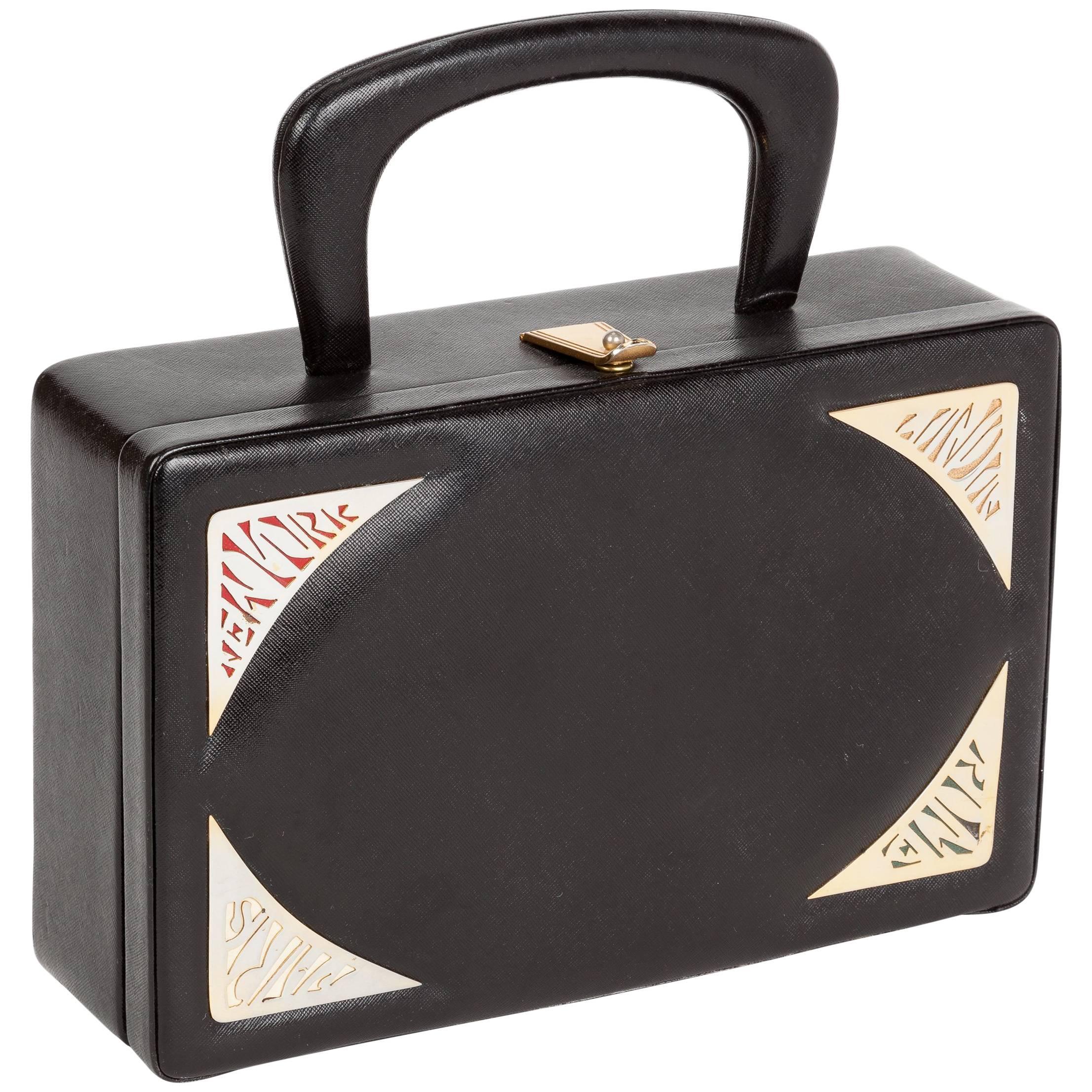 1stdibs 1960s Prestige Black Leather Destination Box Purse KibriqgC