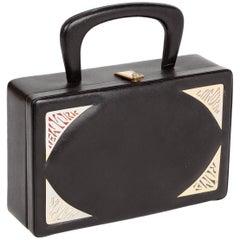 1960's Prestige Black Leather Destination Box Purse