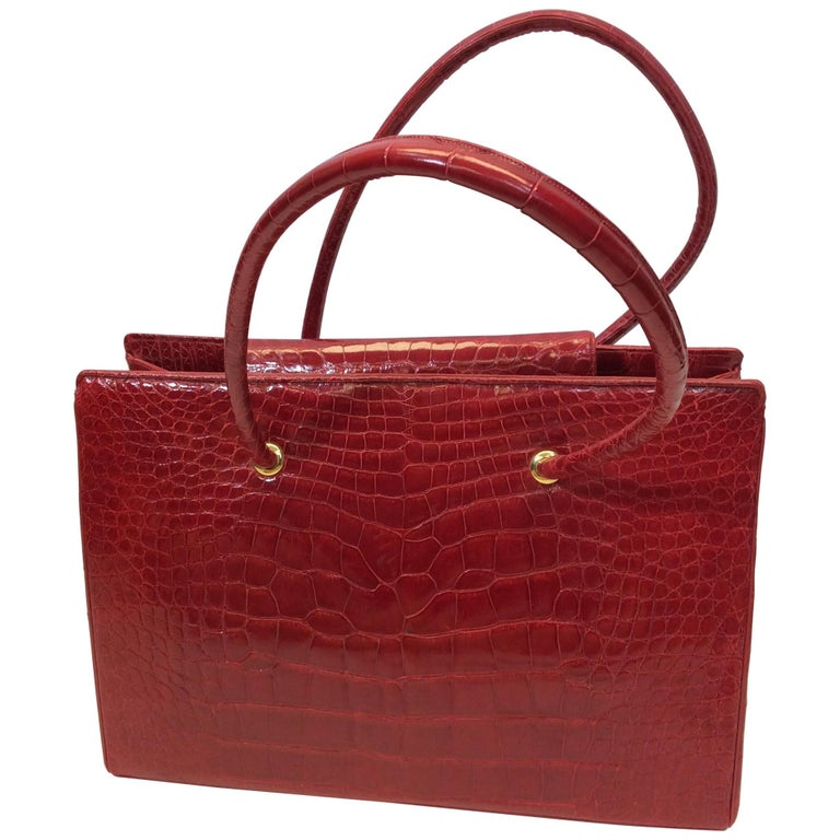 Judith Leiber Red Skin Tote With Coin Purse