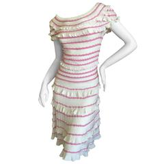Christian Dior by John Galliano Romantic Ruffled Pink and Cream Knit Dress