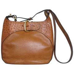 delvaux leather ostrich shoulder bag