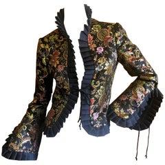Jean Paul Gaultier Femme Golden Chinoiserie Brocade Reversible Ruffle Jacket