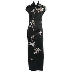Mandalay Black Silk Embellished Asian Inspired Gown - 12