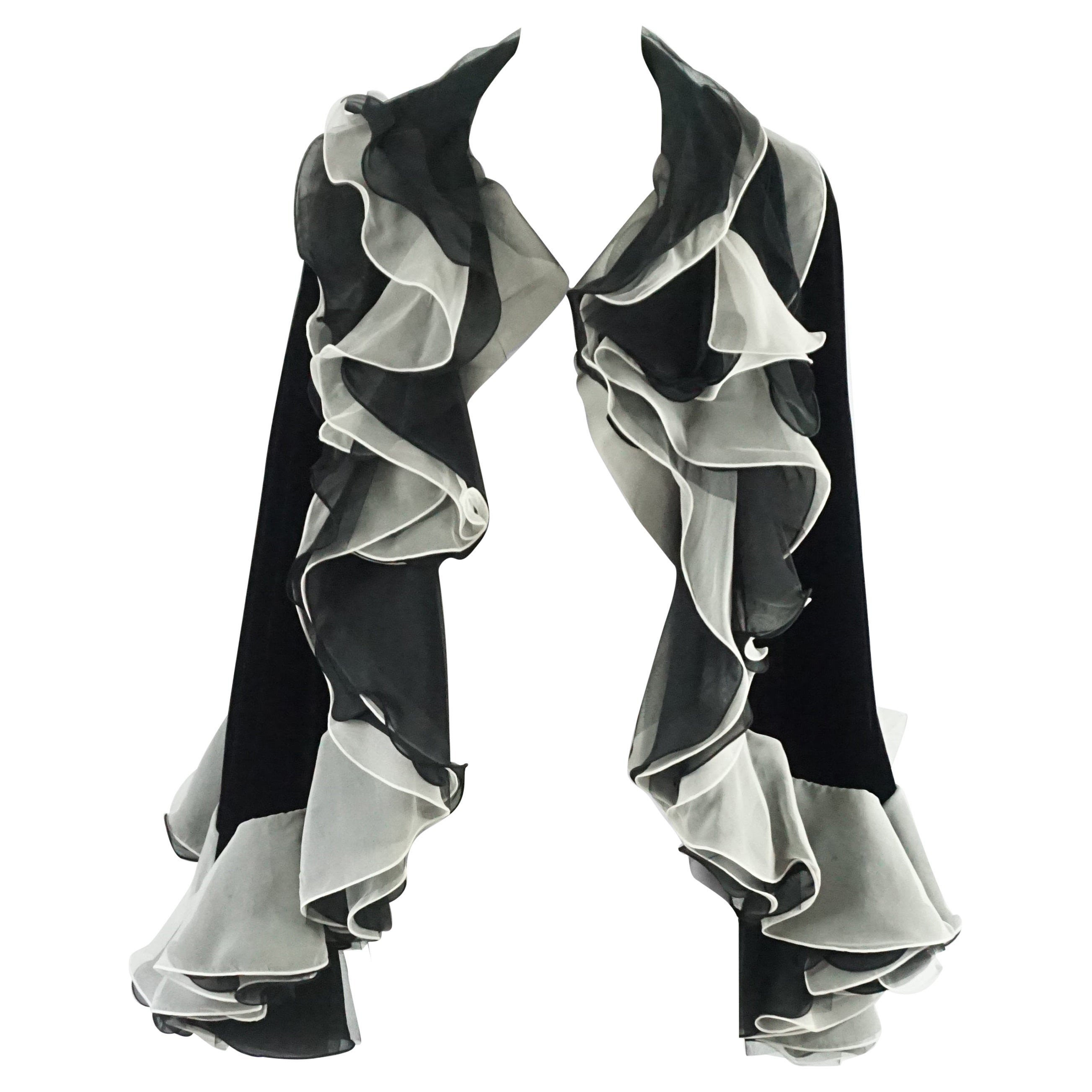 STAIN Armani Black Velvet Cape with White Silk Pleated Trim - OS