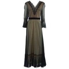 Jean Allen Black Silk and Lace Gown - S - Circa 1990's