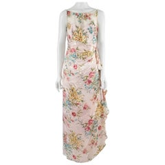 Bellville Sassoon Pink Silk Floral Beaded Sleeveless Gown - 10
