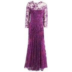 Monique Lhuillier Purple Lace Long Sleeve Gown - 10