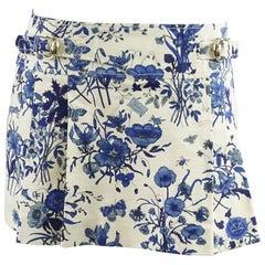Gucci Blue Floral Print Mini Skirt - 42