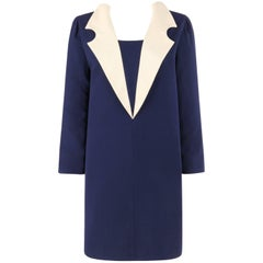 PIERRE CARDIN c.1992 Navy Blue & Ivory Wool Statement Collar Mod Shift Dress