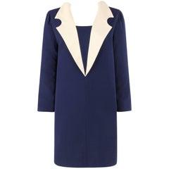 PIERRE CARDIN c.1992 Navy Blue & Ivory Wool Statement Collar Mod Shift Dress