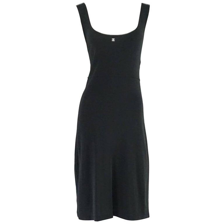 Chanel Black Jersey Slip Dress - 42